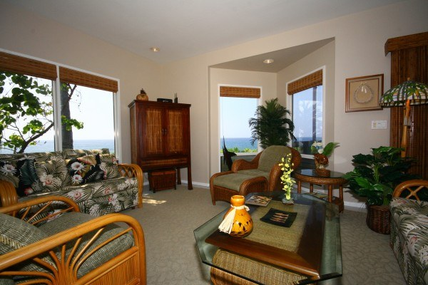Living room of Kanaloa at Kona condo for sale