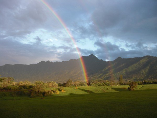 Rainbow in front of Mt. Namahana