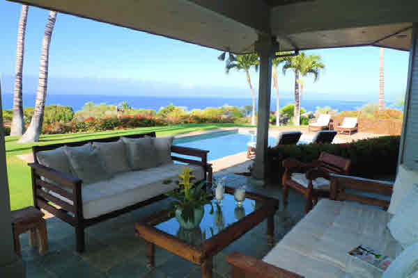 Poolside ocean views from Kohala Ranch Heathers home for sale