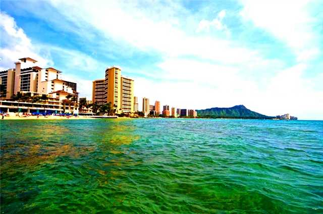 Waikiki Beach a Block Away from Trump Tower