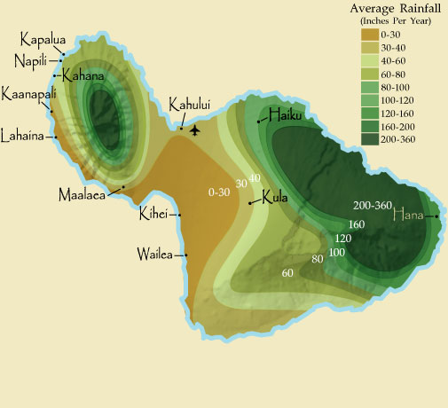 Maui Rain Fall Map
