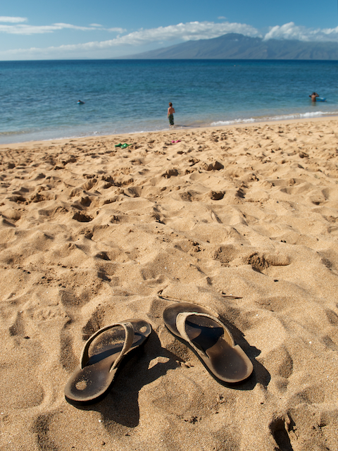 Mahana shoes in the sand