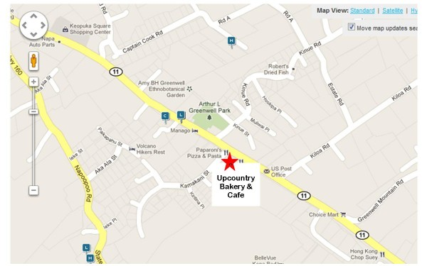 Map to Upcountry Bakery and Cafe