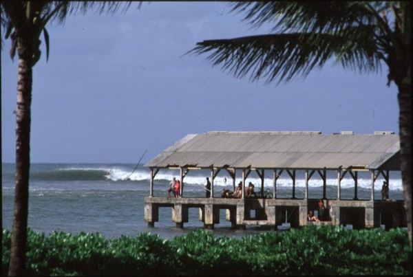 Hanalei Pier with Surfers in the Background