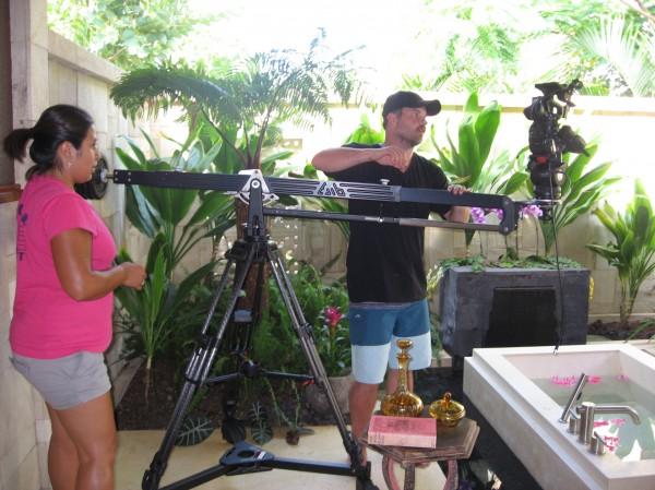 crew filming bathroom