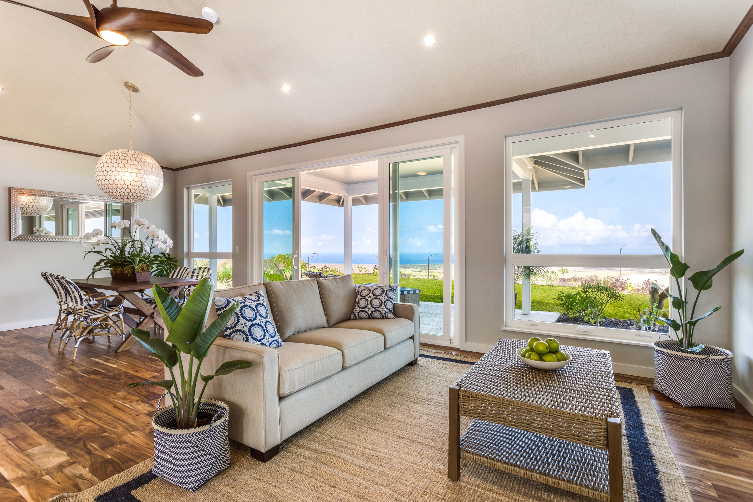 living room with view to lanai and ocean