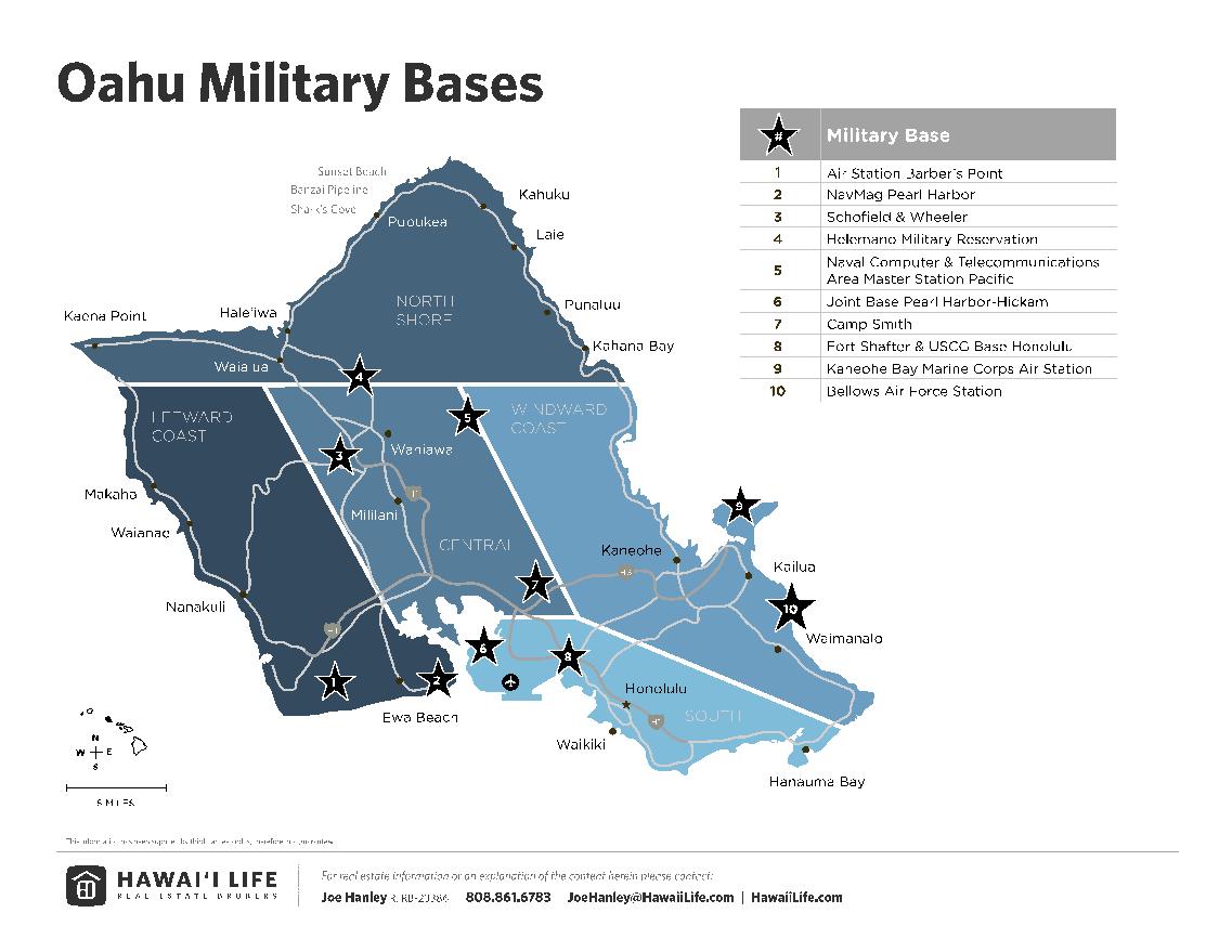 Map of Oahu Military Bases
