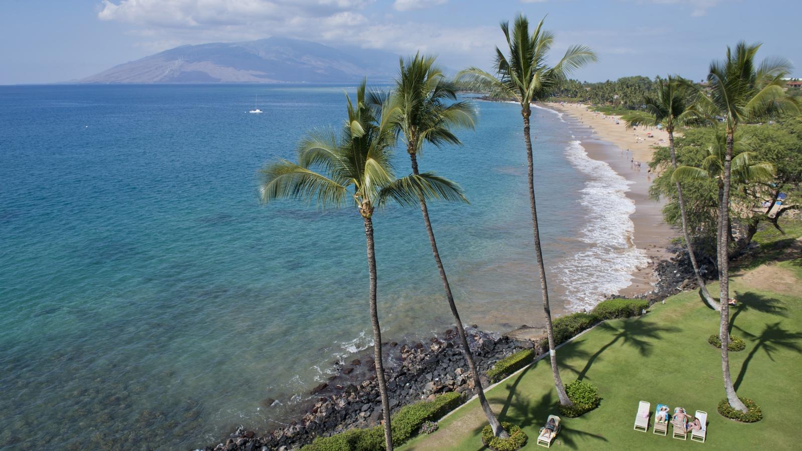 An aerial photo of a beach in Hawaii