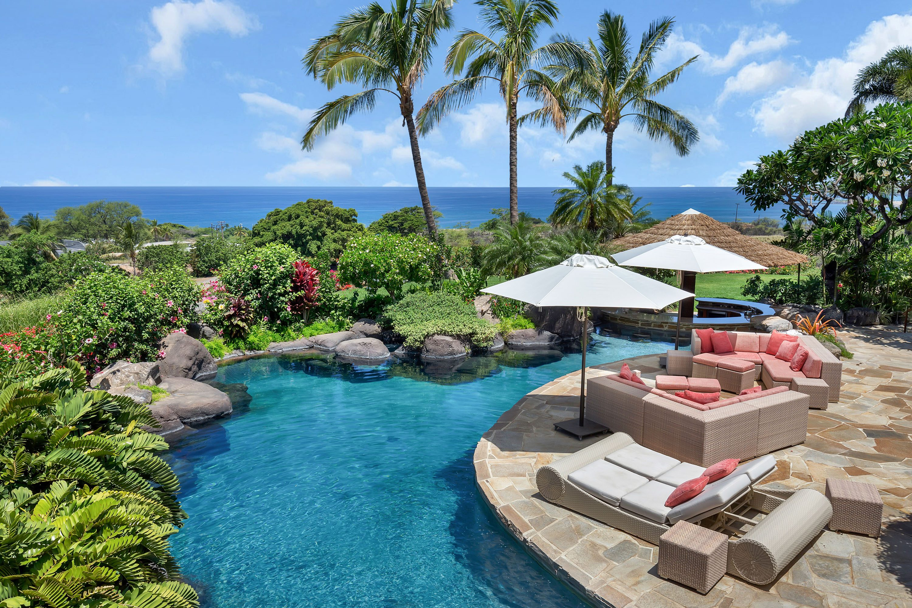 Pool and view Mauna Kea auction home