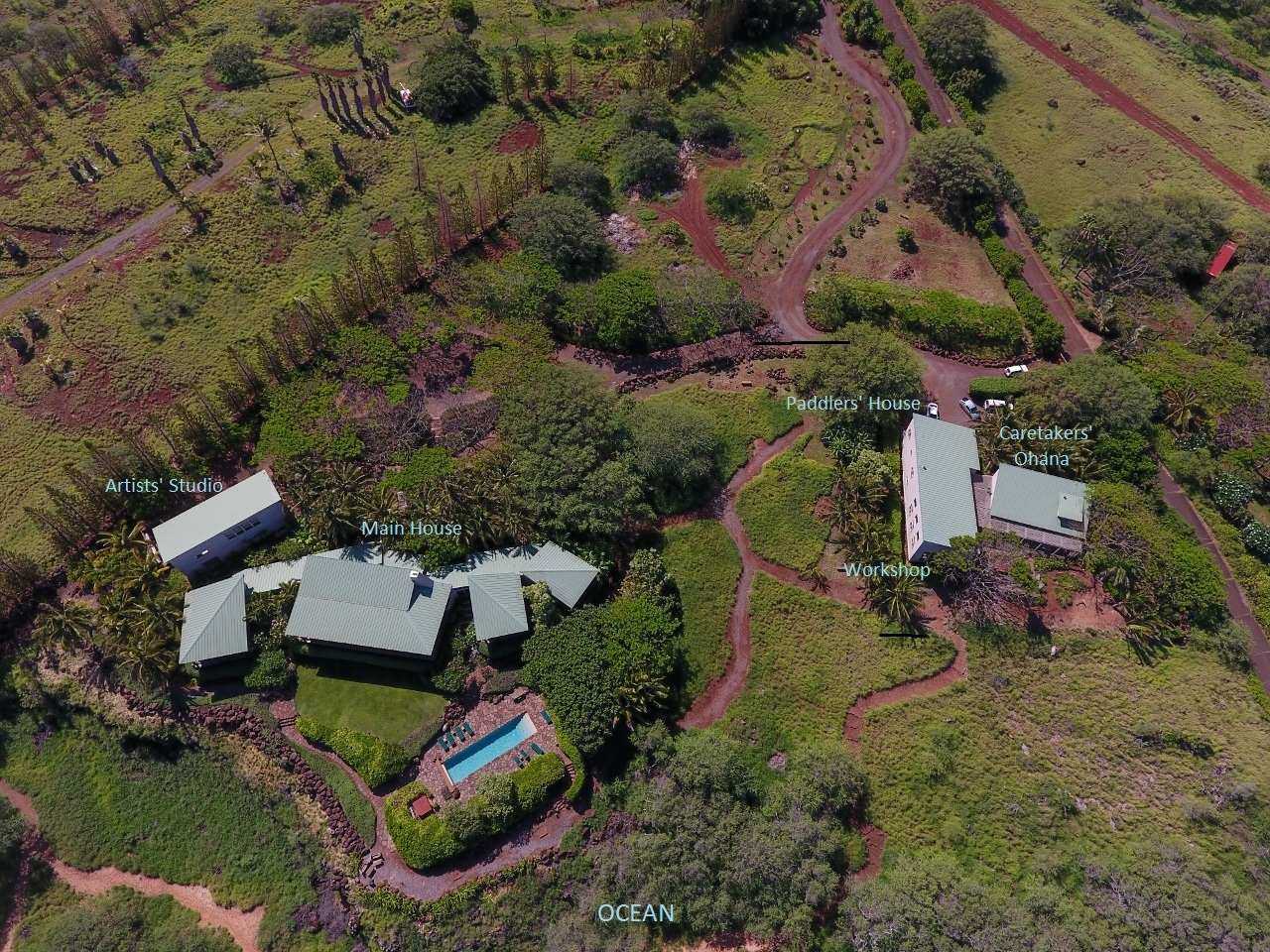 Labeled aerial view of Molokai Sea Ranch