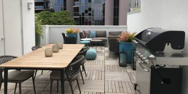 Rooftop deck of townhome