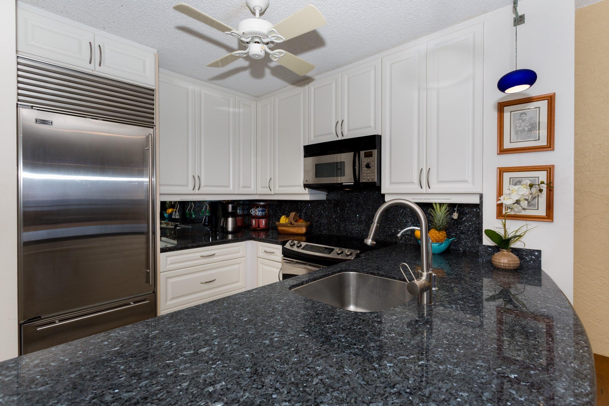 Kitchen with subzero fridge