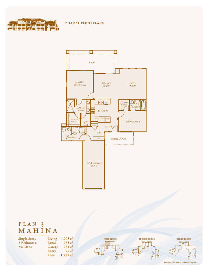 Mahina Floor Plan at Pili Mai