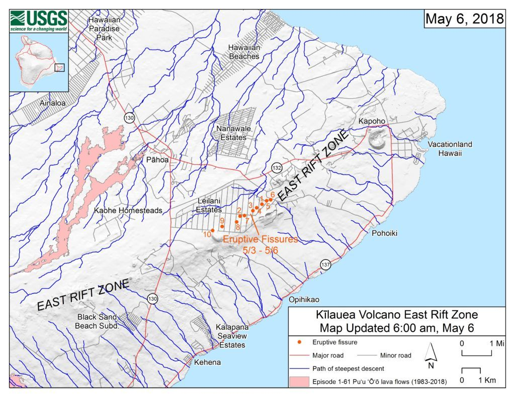 USGS map of Leilani Estates Fissures