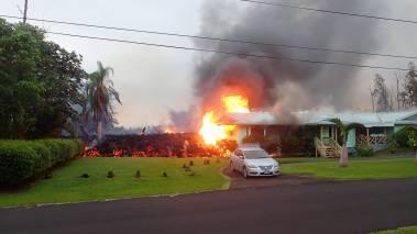 lava engulfing house Leilani Estates