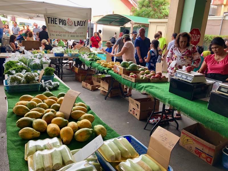 Fresh produce at the Thursday Night Kailua Farmer's Market