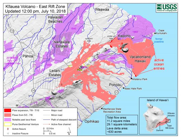 July 11 lava flow map