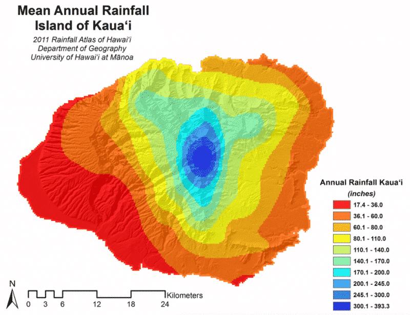Kauai Rainfall Map
