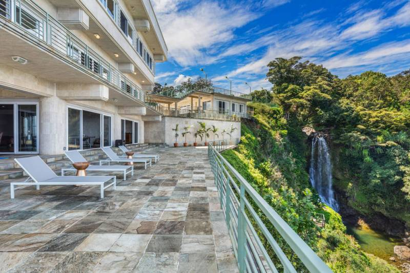 Waterfalling Estate features waterfall into Pacific Ocean