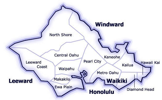 Map of Oahu MLS Regions courtesy of HiCentral MLS