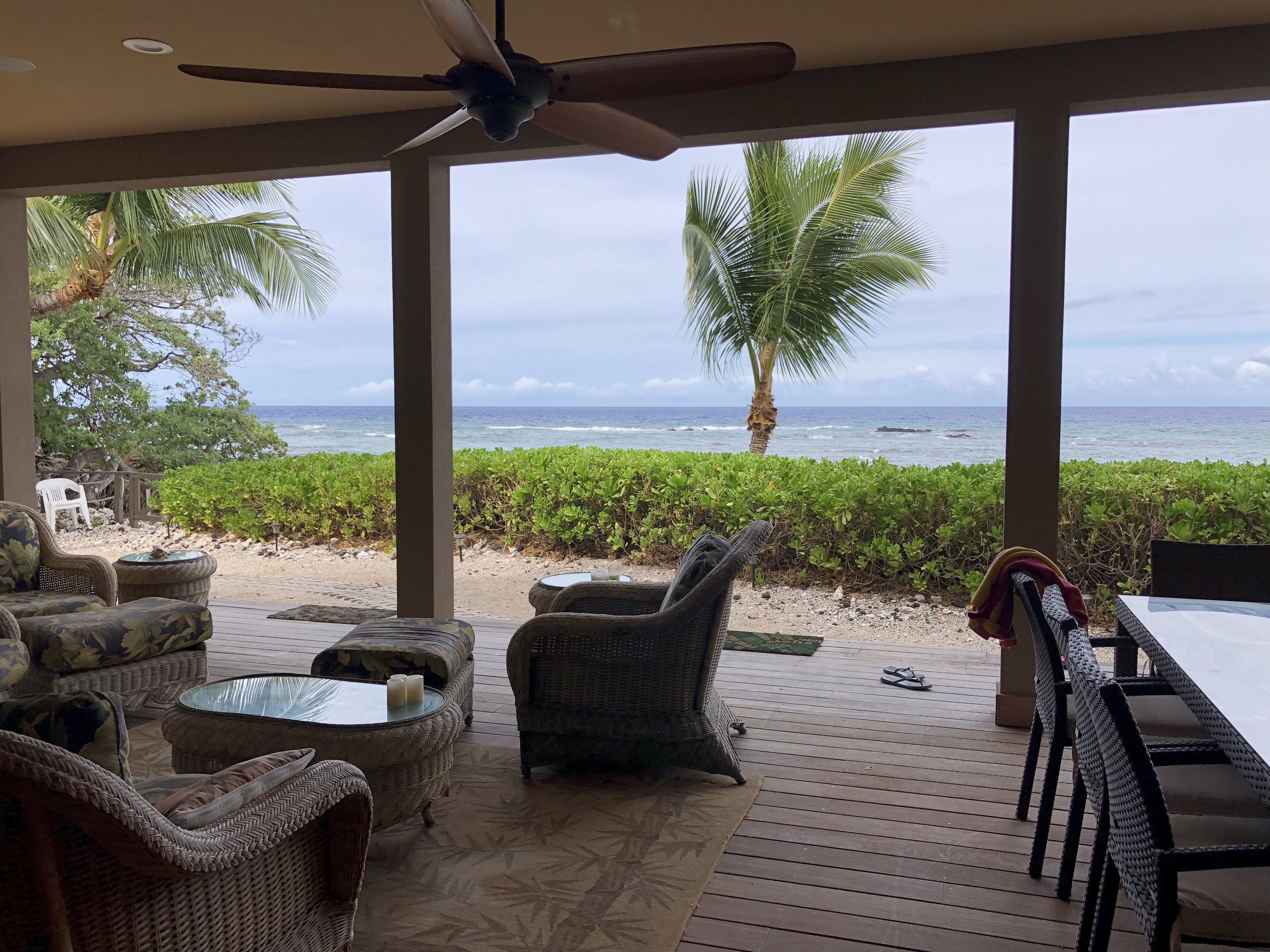 deck fronting ocean at Puako home for sale