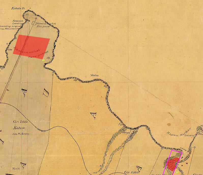 1897 map of historical areas in North Kohala