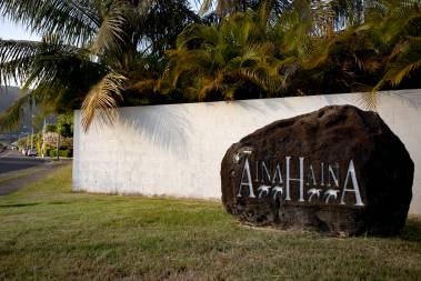 Aina Haina carved into large rock