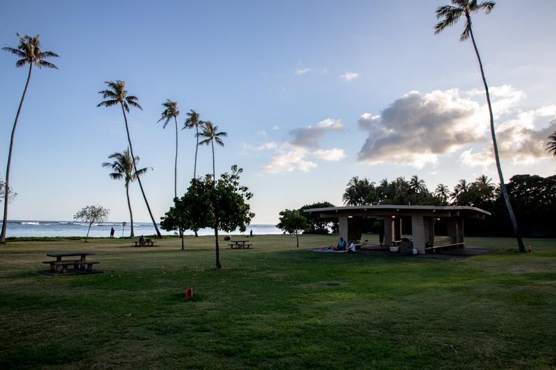 Kawakui'i Beach park at sunset