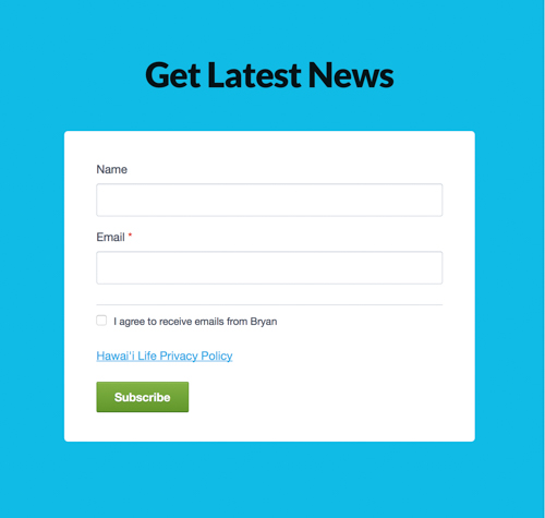Sign up form for Bryan's newsletter