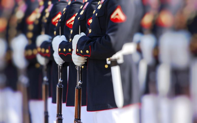 Marines standing at attention in full dress