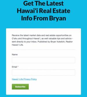 Sig up form for Bryan's newsletter