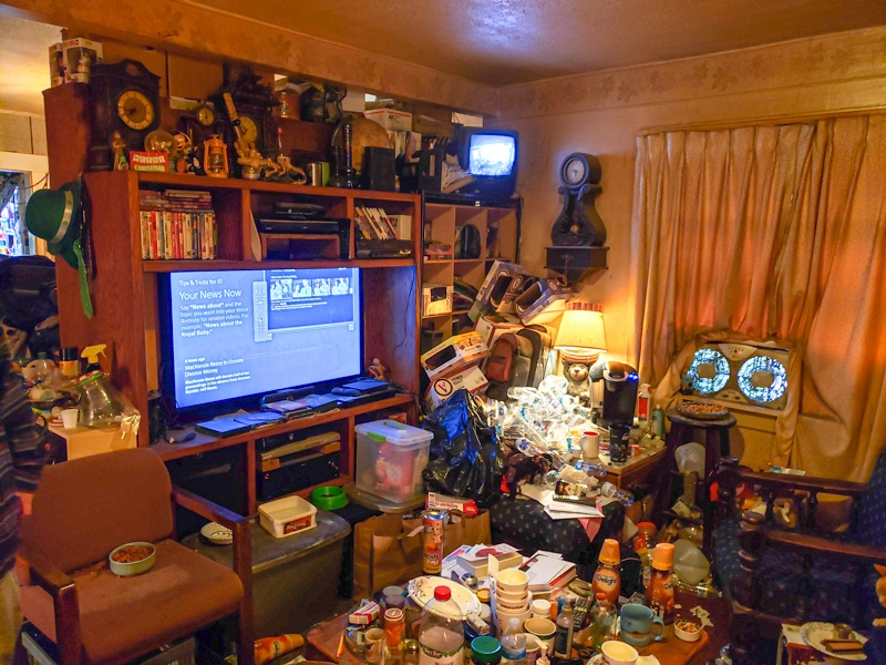 image of very cluttered living room