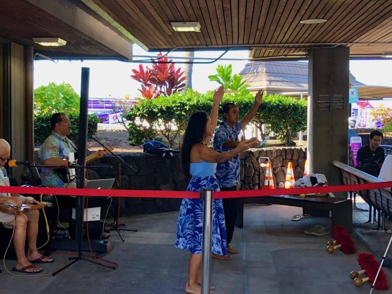 Hula dancers at Kona airport