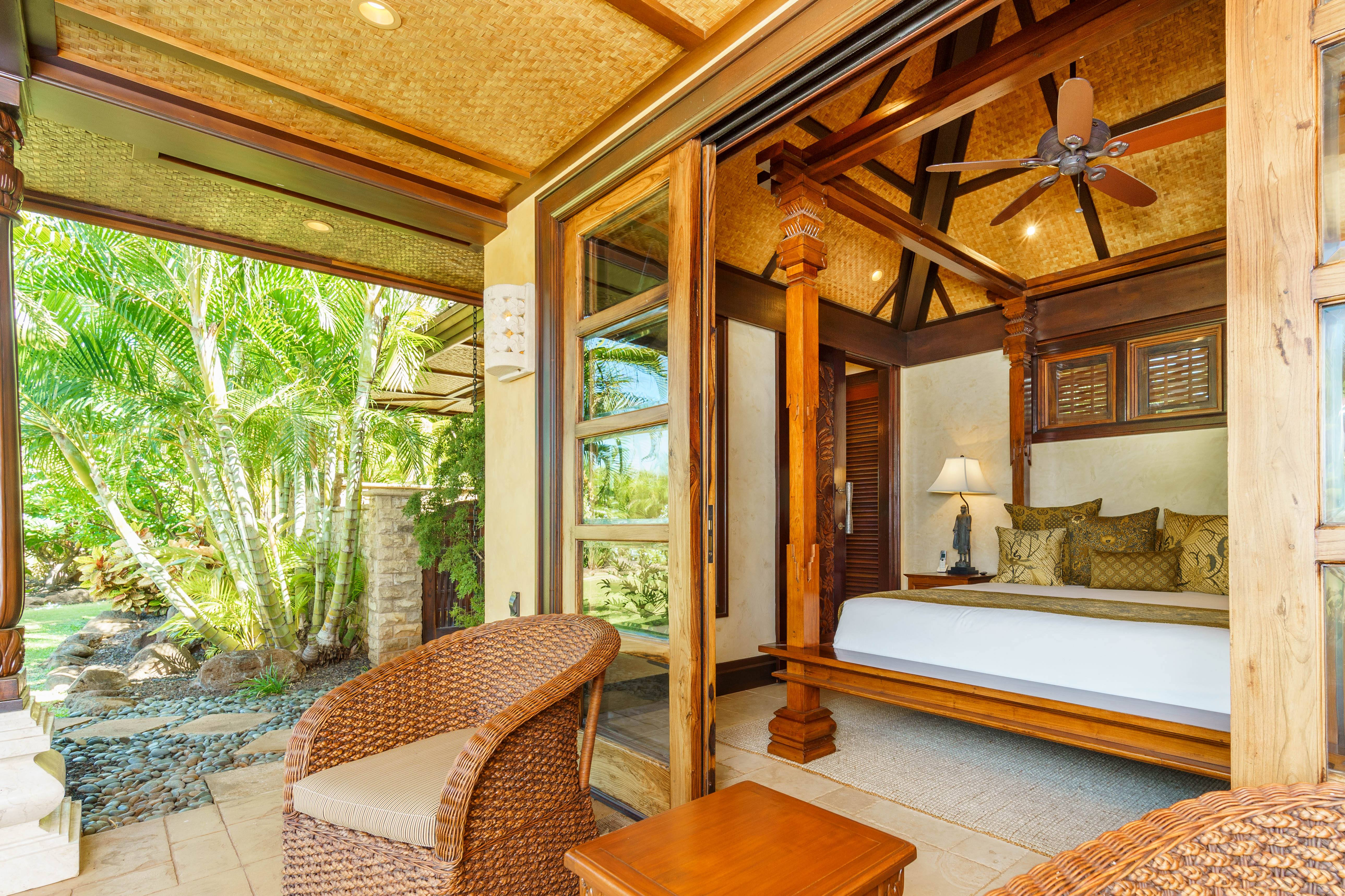 indoor-outdoor living at Balinese-style estate in Launiupoko maui