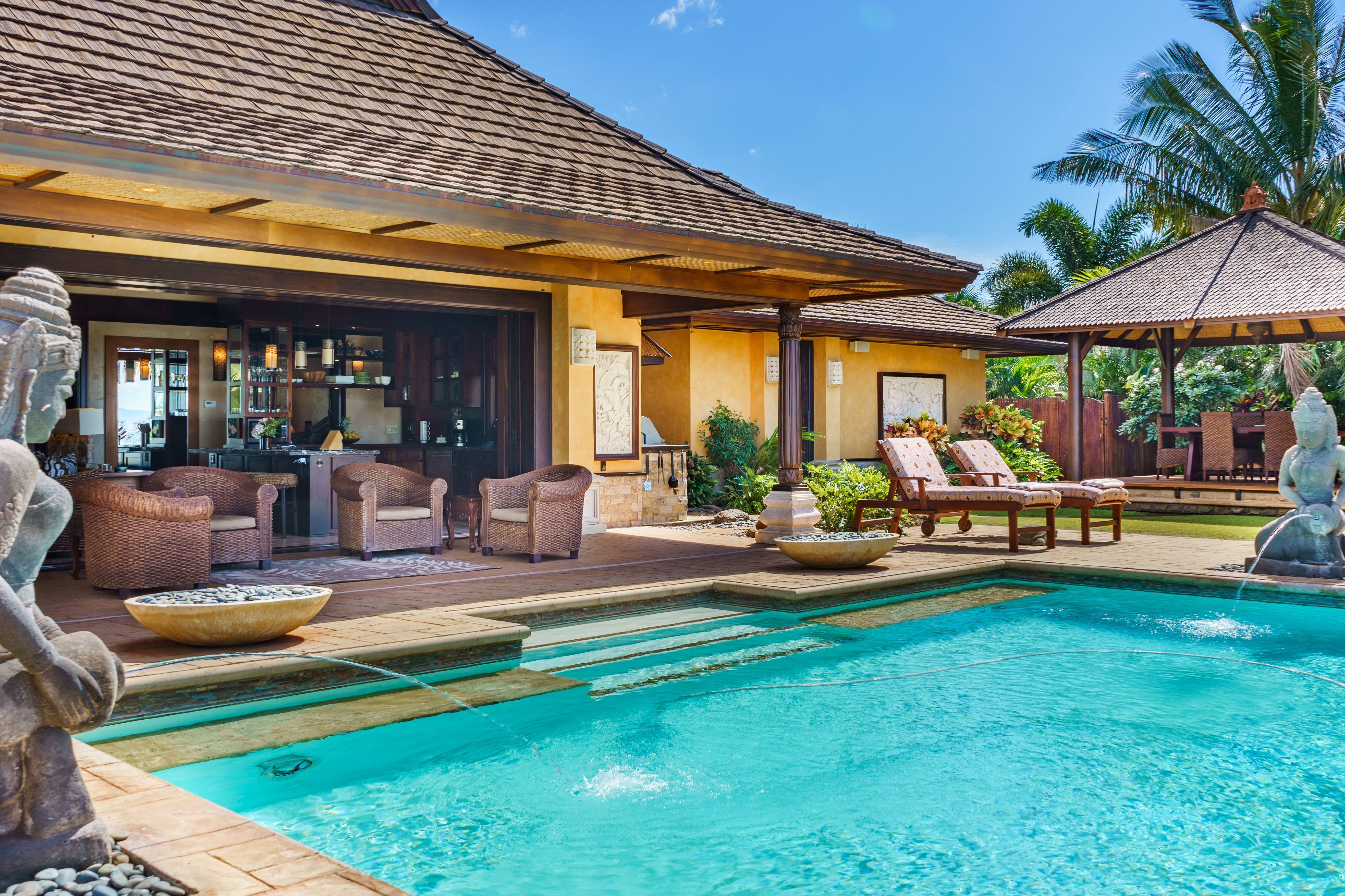 luxurious pool at Balinese-style estate in Launiupoko maui