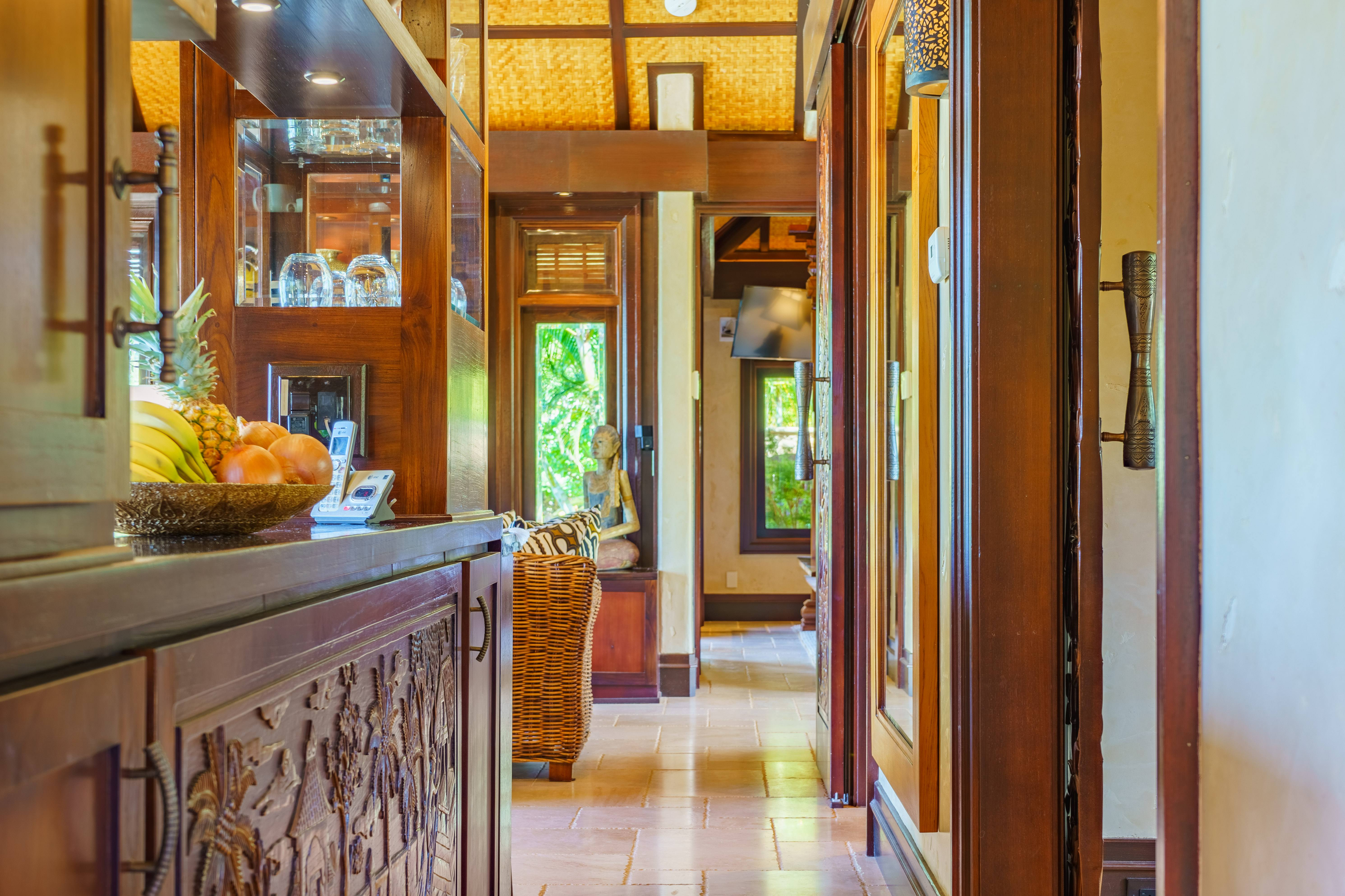 hallway in Balinese-style estate in Launiupoko maui