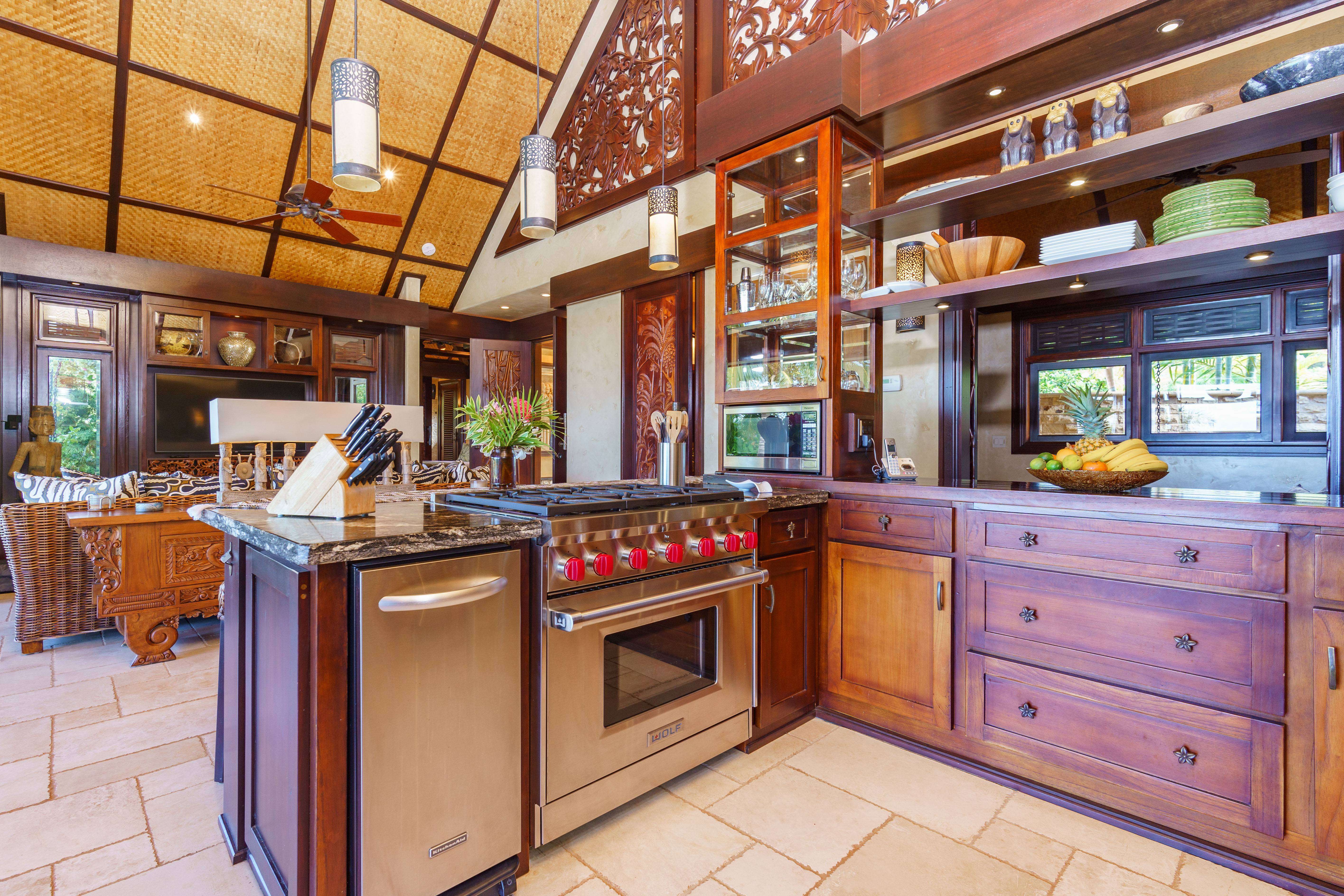 kitchen at Balinese-style estate in Launiupoko maui