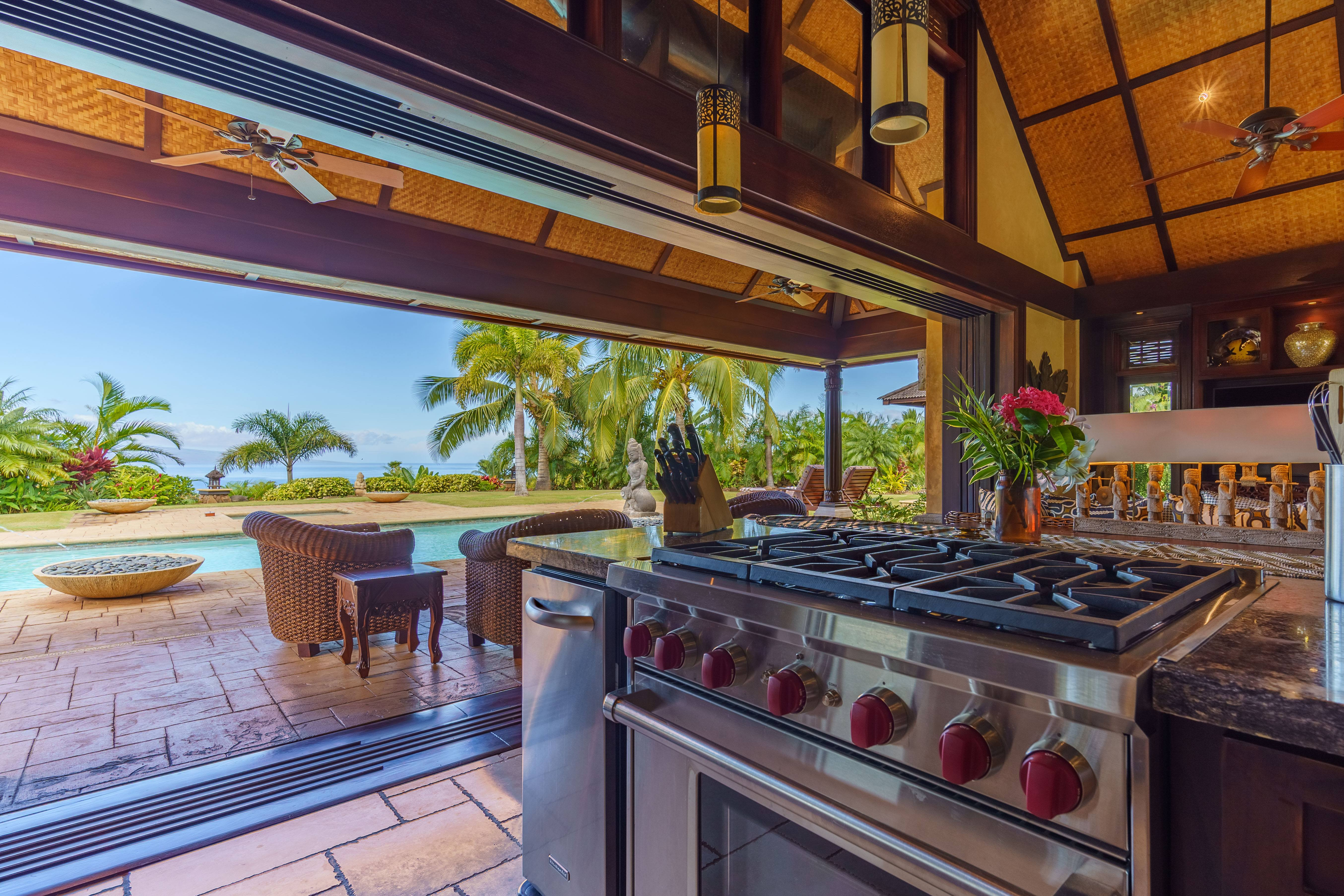 grill at Balinese-style estate in Launiupoko maui