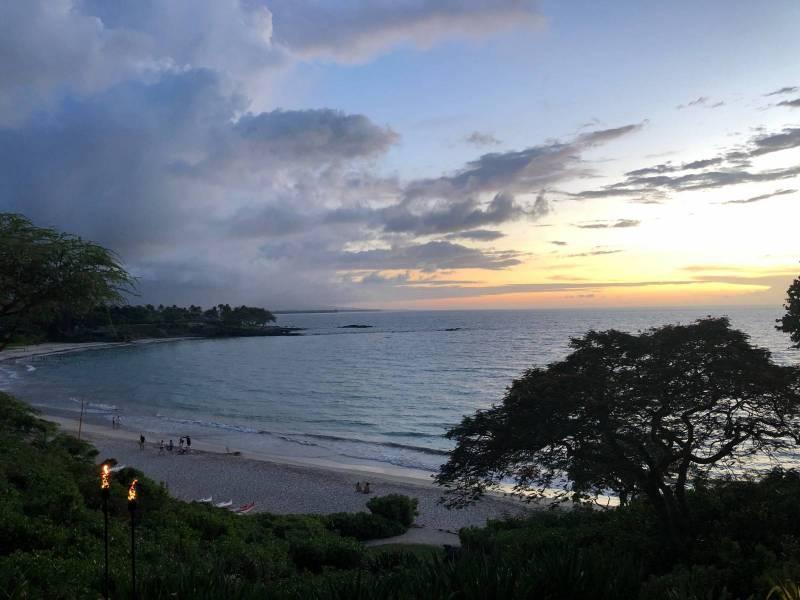 Kaunaoa Beach at Mauna Kea Resort at sunset
