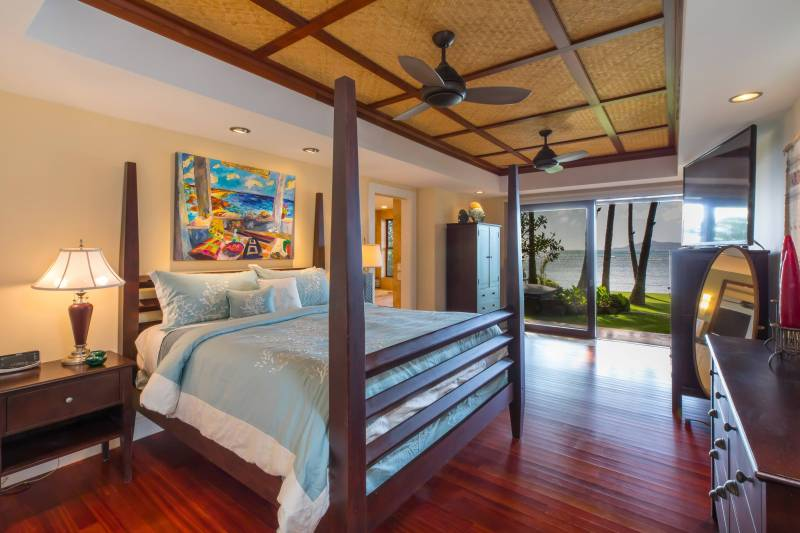 master bedroom with waterfront views portlock oahu