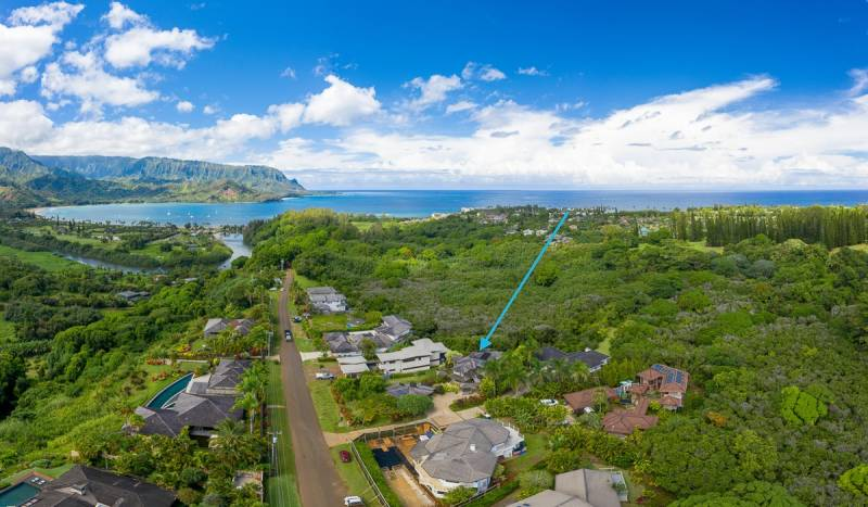 aerial view of hanalei plantation road kauai