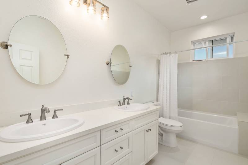 bathroom cabinets and double sinks