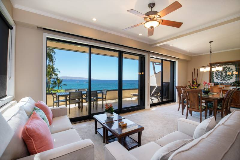 ocean view from living room at makena surf condo
