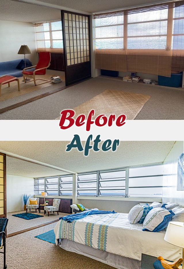 before and after studio renovation big island