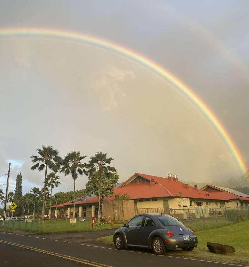 rainbow over school in kauai
