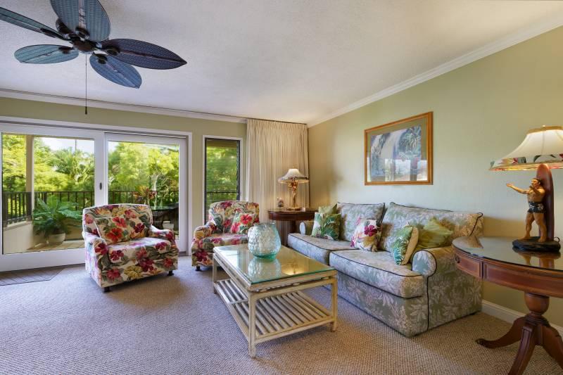 living room poipu kauai condo