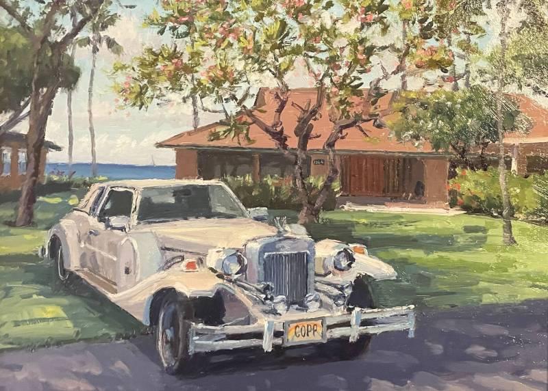 oil painting of puamana maui home by maui artist Ronaldo Macedo