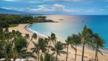 view of beach from Mauna Kea Resort