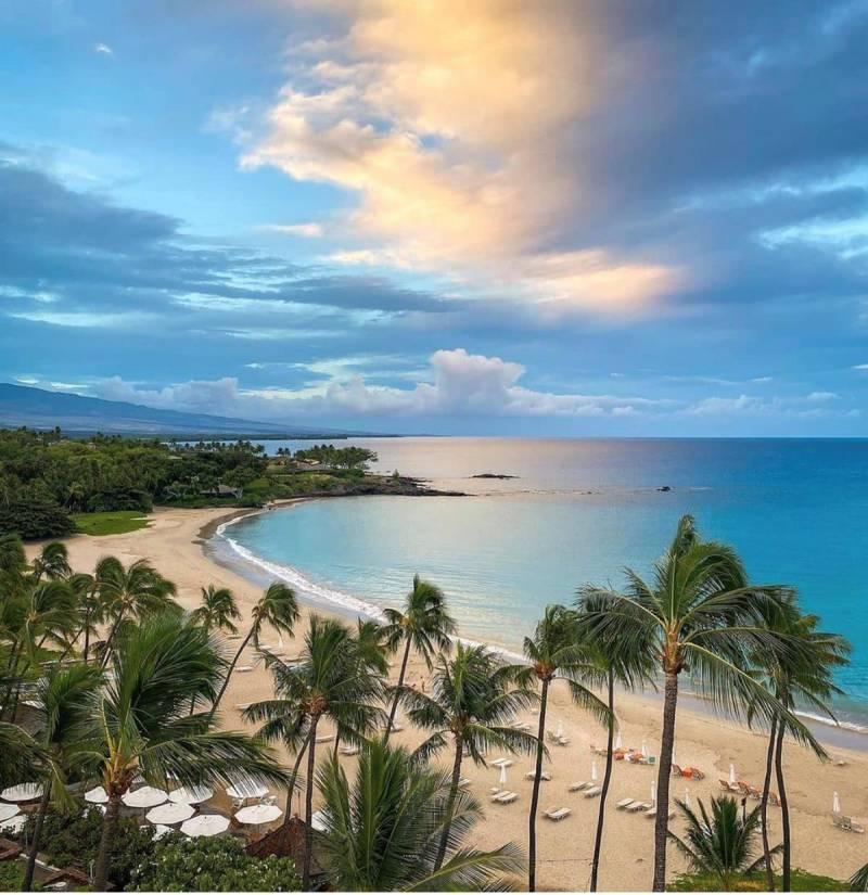 view of beach from Mauna Kea Resort