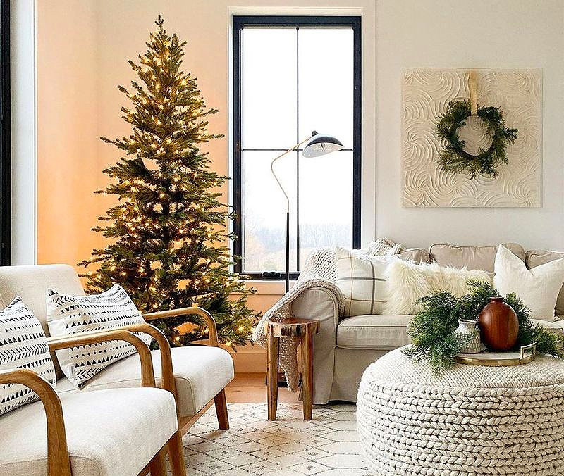 neutral colored christmas decorations in living room